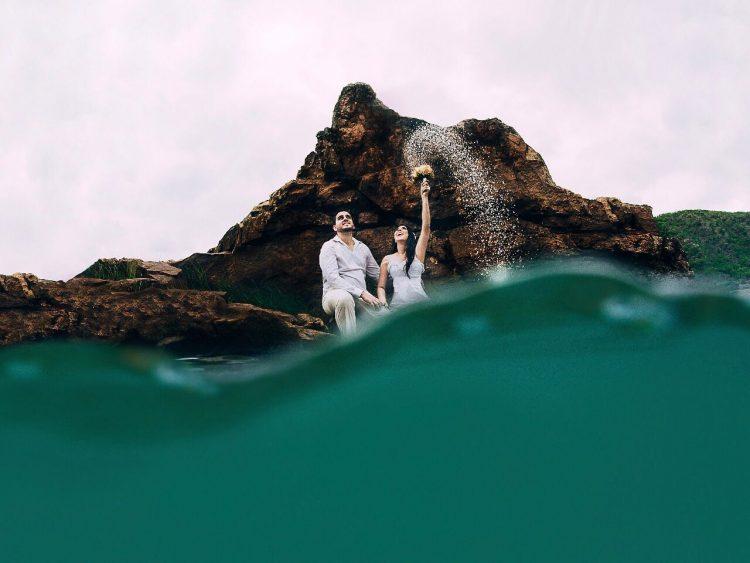 Nayara e Gustavo nas águas do rio São Francisco (Fotos: Priscila Fontinele)