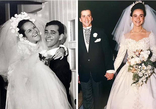 Ramon e Débora no casamento, em 1992, e Maria Isabel e Sérgio, em 1967