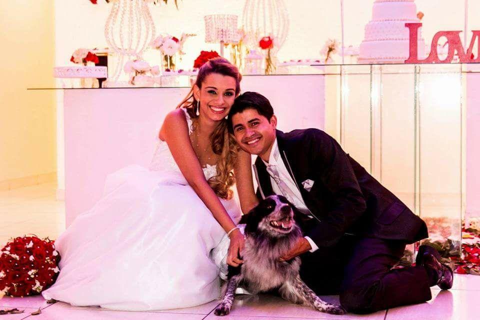 Cleber e a esposa, Dan Batista; casamento teve a participação da border collie Anitta